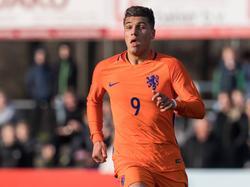 Joël Piroe tijdens het EK kwalificatie-duel voor spelers jonger dan 19 jaar. (23-03-2017)