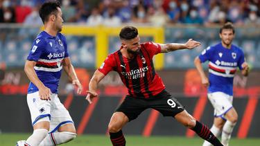 Neuzugang Oliver Giroud stand in der Startelf des AC Milan