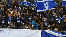 Al-Hilal supporters cheer during the AFC Champions League Final second leg match between Urawa Red Diamonds and Al-Hilal at Saitama Stadium on November 25, 2017 in Saitama, Japan.