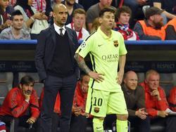 Guardiola y Messi en una imagen de 2015 en Champions.