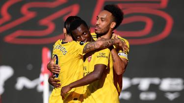 Der FC Arsenal jubelt über den Sieg gegen den FC Southampton