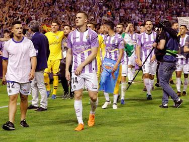 Los jugadores del Valladolid celebran el ascenso en Pucela. (Foto: Imago)