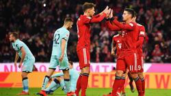 James Rodríguez (r.) erzielte einen Hattrick bei der Gala des FC Bayern