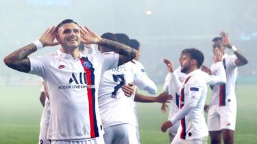 Icardi celebra uno de sus goles ante el Brujas.