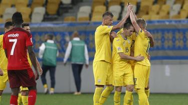 Die Ukrainer bejubeln den Siegtreffer