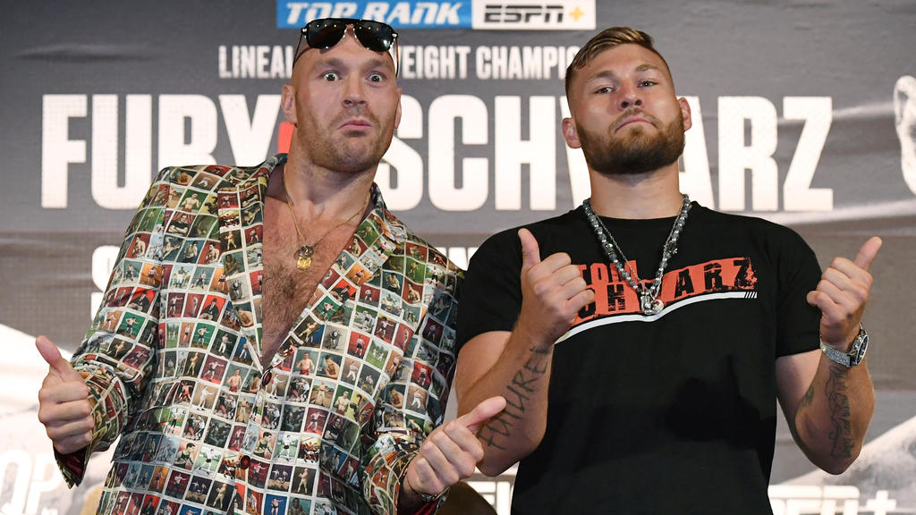 Tyson Fury und Tom Schwarz (r.) stehen sich in Kürze im Ring gegenüber