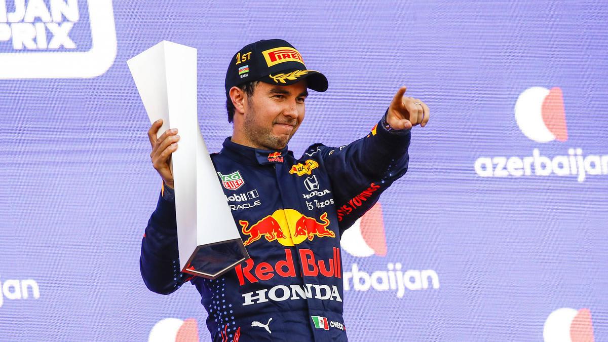 Sergio Pérez bejubelt seinen zweiten Formel-1-Sieg