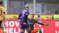 Osnabrücks Niklas Schmidt (m.) erzielte den Treffer zum 2:0 gegen Dresden