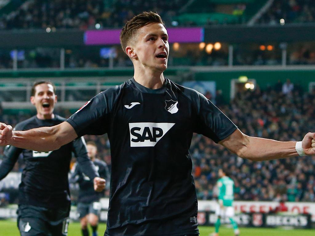 ÖFB-Legionär Christoph Baumgartner traf in Bremen per Ferse zum 2:0 für die TSG