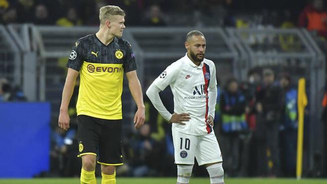 BVB-Star Erling Haaland (l.) und Neymar (r.) werden vorerst wohl keine Freunde mehr