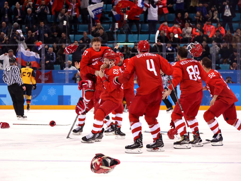 Die russischen Eishockeyspieler setzten sich gegen Deutschland durch