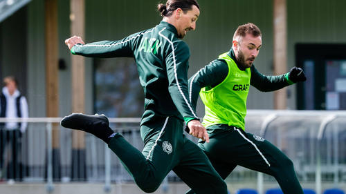 Training trotz Corona-Krise: Milan-Star Zlatan Ibrahimovic (l.)