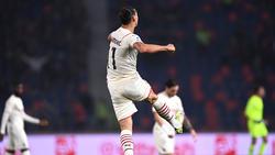 Milans Zlatan Ibrahimovic jubelt über seinen Treffer ins gegnerische Tor