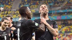 Marko Arnautovic (r.) wird bei der Euro 2021 für ein Spiel gesperrt