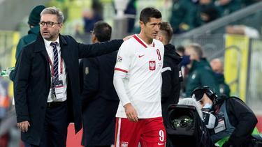 Robert Lewandowski vom FC Bayern hat sich bei der polnischen Nationalmannschaft verletzt