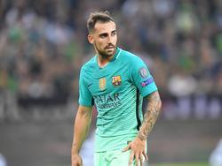 Paco Alcácer krijgt speelminuten tijdens het Champions League-duel Borussia Mönchengladbach - FC Barcelona (28-09-2016).