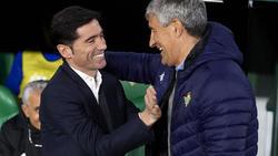 Marcelino saluda a Quique Setién en la pasada temporada.