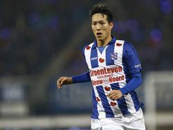 Yuki Kobayashi is gefocust tijdens het competitieduel sc Heerenveen - Excelsior (10-12-2016).