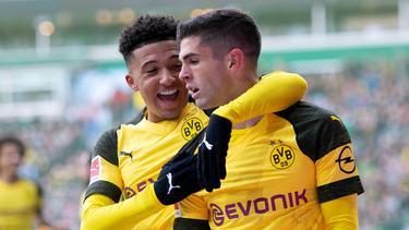 Jadon Sancho (l.) und Christian Pulisic spielten beim BVB Seite an Seite