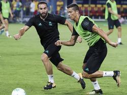 Carvajal (izq.) y Cristiano en una sesión de esta temporada. (Foto: Imago)