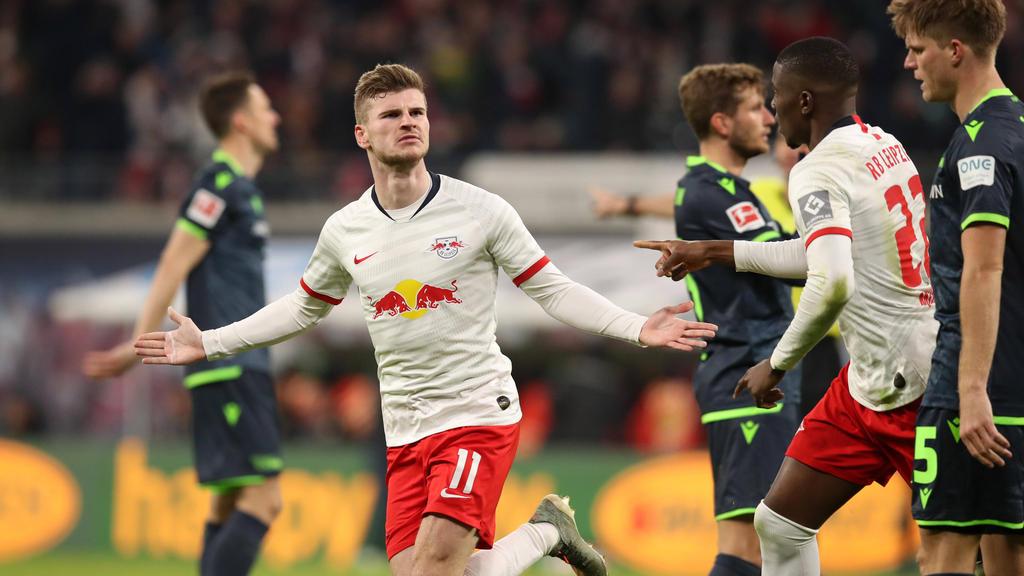 Timo Werner ballerte sich mit seinem Doppelpack an die Spitze der Bundesliga-Torschützenliste