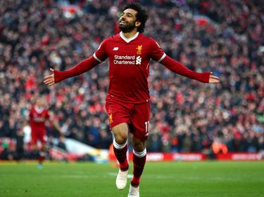 Salah celebra un tanto con los 'Reds'. (Foto: Getty)