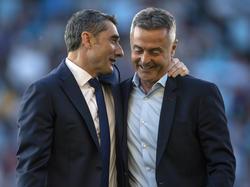 Valverde bromea con Fran Escribá en un Barça - Celta. (Foto: Getty)