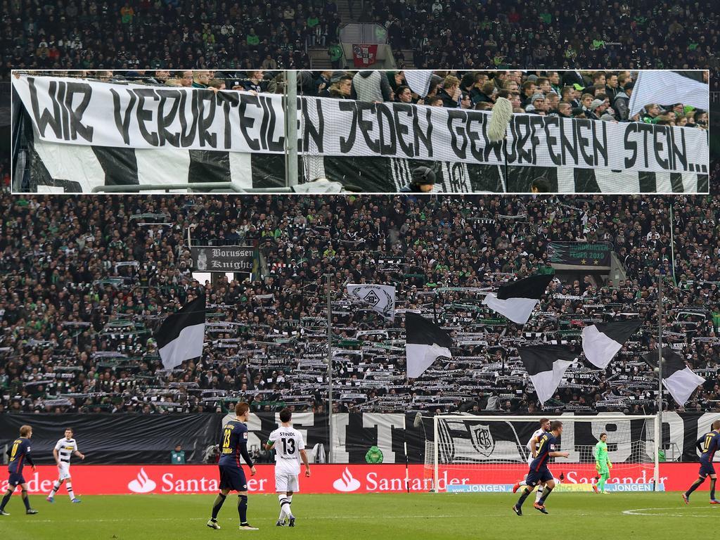 Die Borussia-Fans ließen sich zu einem beleidigenden Banner hinreißen (Fotomontage)