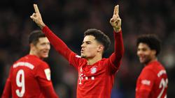 Coutinho celebra un tanto con el Bayern en la Bundesliga.