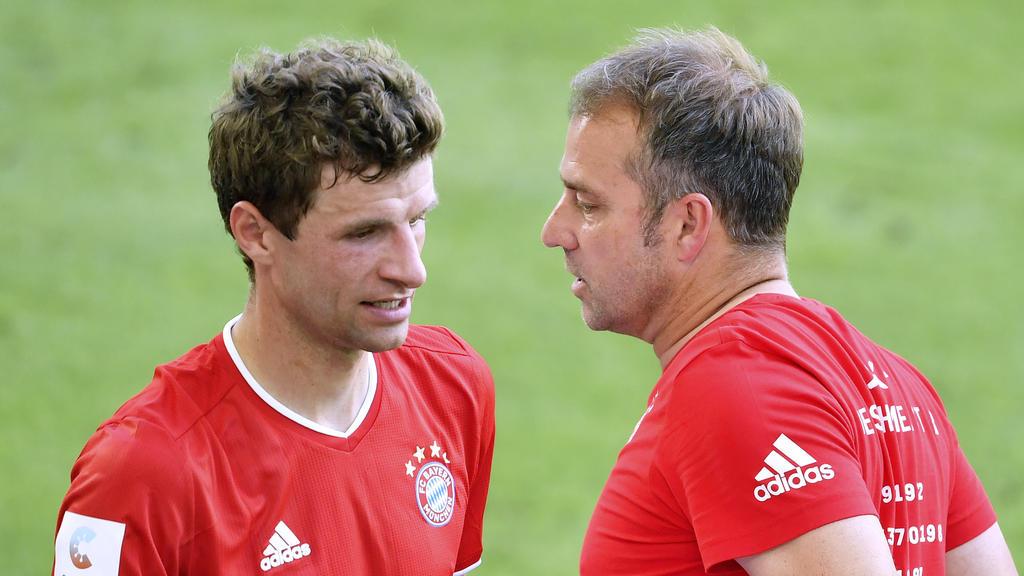 Beim FC Bayern gemeinsam erfolgreich: Thomas Müller (l.) und Hansi Flick