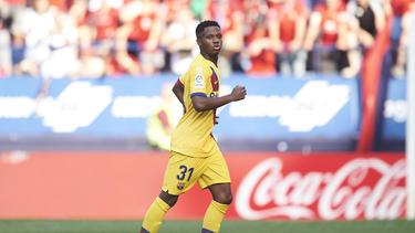 Ansu Fati tras marcar su primer gol con el Barcelona.