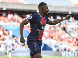 Mbappé celebra un gol con los parisinos.