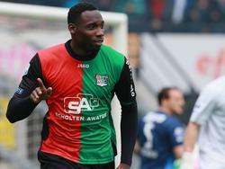 Geoffrey Castillion heeft NEC Nijmegen op voorsprong gezet tegen FC Twente. (27-4-2014)