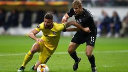 Giroud en la semifinal de Europa League ante el Eintracht. (Foto: Getty)