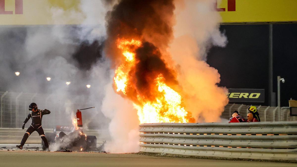 Grosjeans Auto ging in Bahrain in Flammen auf