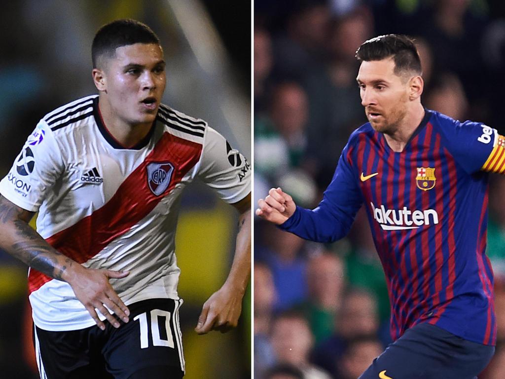 Juan Quintero und Leo Messi - zwei der drei Finalisten um den Puskás-Award. © Getty Images