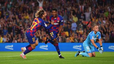 Ansu Fati tras marcar contra el Valencia.