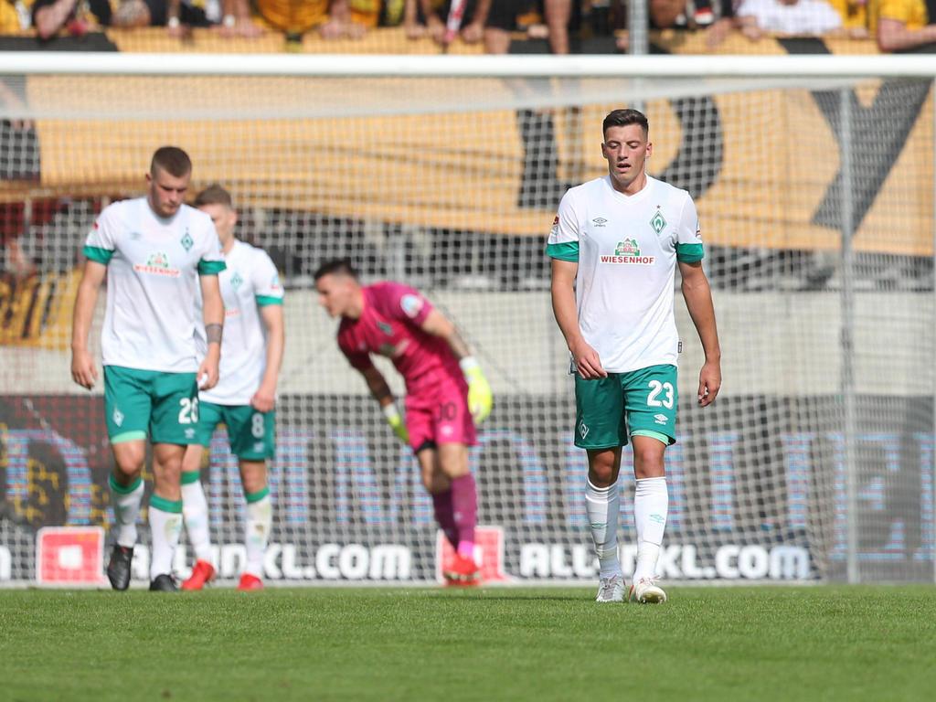 Enttäuschte Mienen bei Werder Bremen