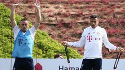 Sind zurück im Training des FC Bayern: Ribéry (li.) und Tolisso
