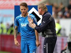 Markus Gisdol (r.) möchte Hoffenheim-Profi Eugen Polanski zum HSV locken