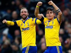 Die Männer des Abends: Gonzalo Higuaín (l.) und Paulo Dybala erzielten die Treffer für Juve