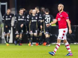 Iliass Bel Hassani baalt nadat Olympique Lyon op een 0-1 voorsprong is gekomen in Alkmaar. (16-02-2017)