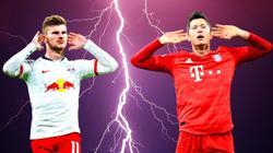 Timo Werner von RB Leipzig und Robert Lewandowski vom FC Bayern im Vergleich