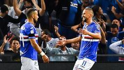 Genuas Fabio Quagliarella (l.) hat nun in elf Ligaspielen in Folge getroffen