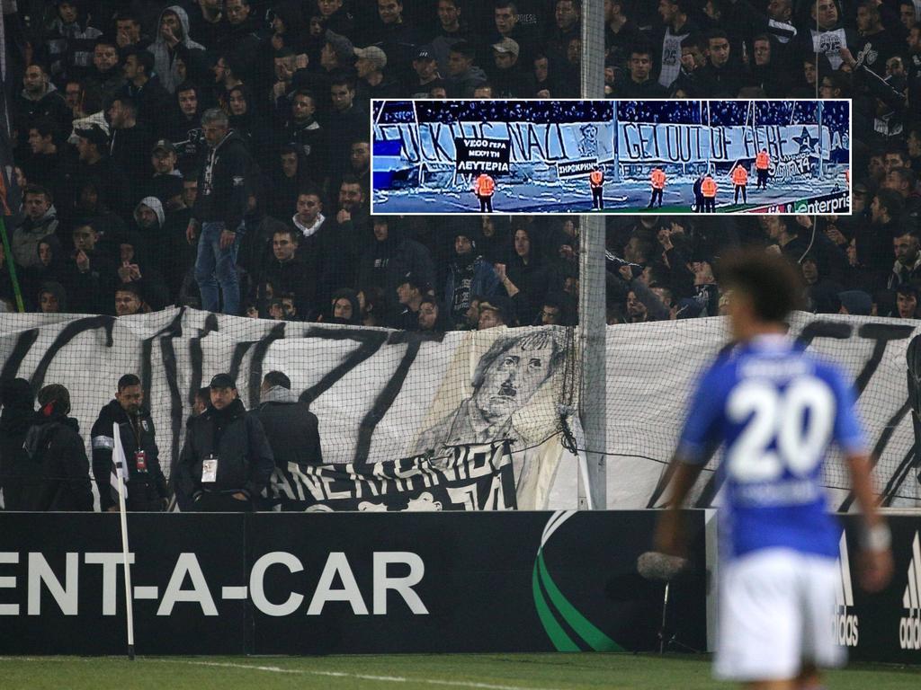 Das beleidigende Nazi-Banner der Saloniki-Fans (Bildmontage, Quelle: imago / twitter.com/tobeilinho)