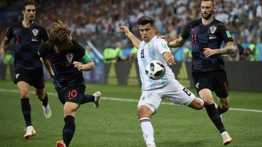 Acuña con la camiseta de Argentina en el pasado Mundial de Rusia.