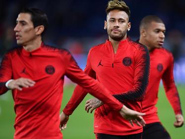 Di María y Neymar en primer plano en un calentamiento reciente. (Foto: Getty)