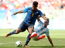 El internacional por Honduras Lozano, baja importante en el conjunto canario. (Foto: Getty)