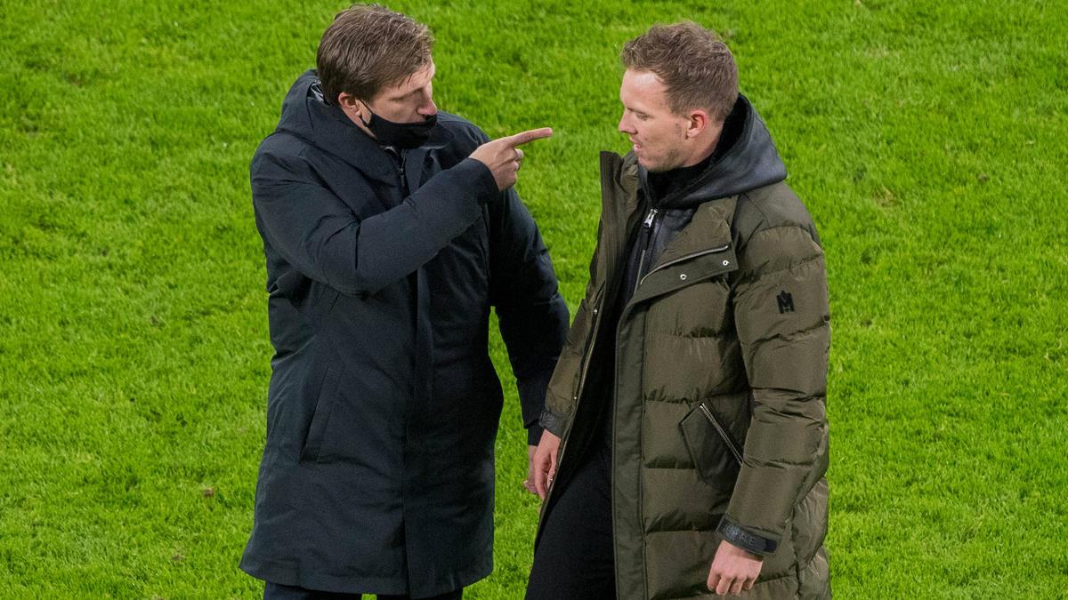 Markus Krösche und Julian Nagelsmann von RB Leipzig