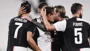 Spieler von Juventus jubeln über einen Treffer